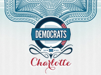 DNC Invitation dnc politics red white blue democrat charlotte obama north carolina flag logo carolyna black helvetica neue bold condensed hoefler text