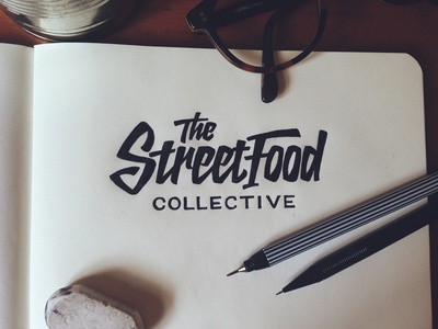 The Street Food Collective - Logo Concept 4 lettering logo script brush type typography brand branding identity food design