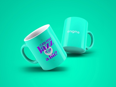 Can you JAZZ it up a bit? fun music question mug purple green graphic design cliche