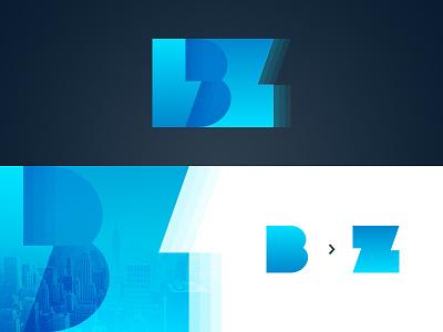Buzz z b gradient overlap layers blue typography webinar buzz graphic design branding