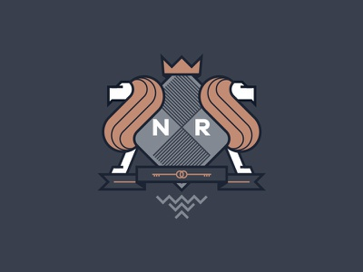 Newton Rowe Crest real estate estate agents blue gold coat of arms lion crest logo mark branding