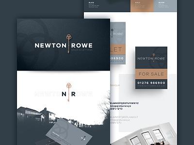 Newton Rowe Branding property real estate estate agents silver blue gold key wordmark logo mark branding