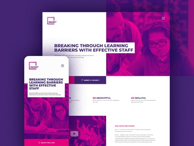 Breakthrough landing page overlapping intersection prurple uidesign ux design recruitment landing page graphic design branding web design