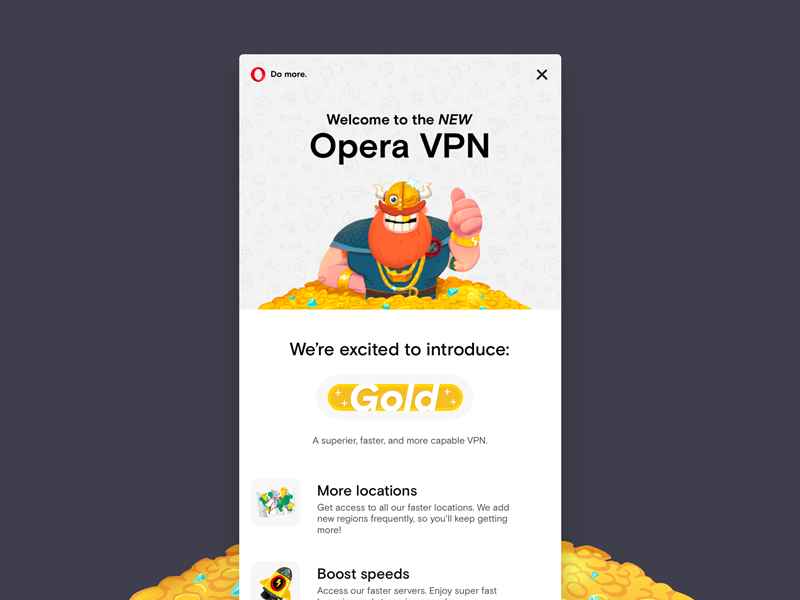 Opera VPN: Gold ux ui introduction coversion upsell ios