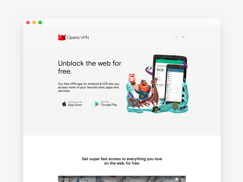 Opera VPN: web product page homepage landing page web design ui