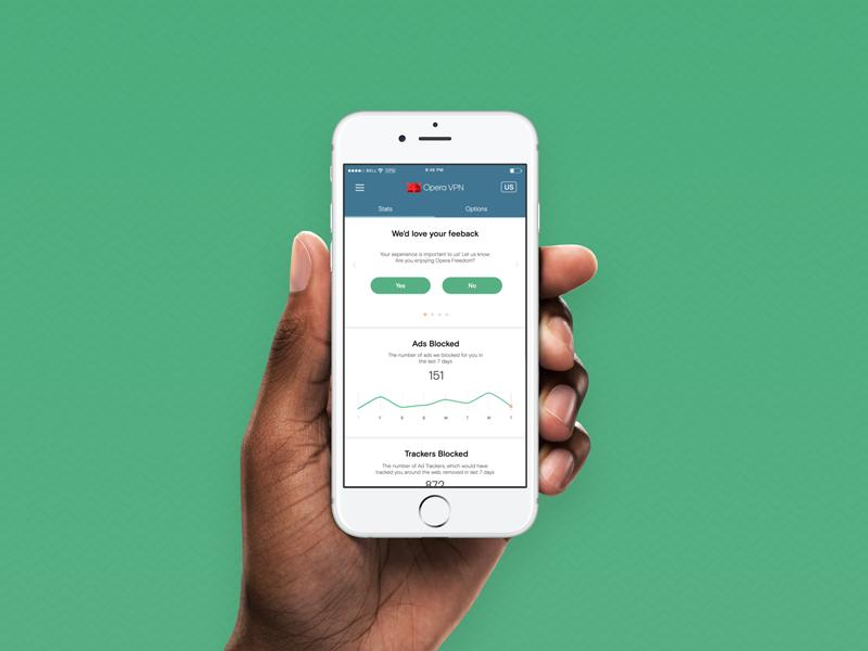 Opera VPN: Version 1 launched homescreen mobile design app design ui