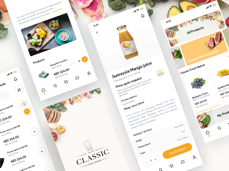 Classic Fine foods typography vector logo white food android ios ux ui app