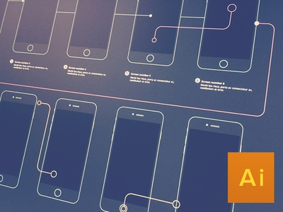 Wireframe flow for iPhone 6 and iPhone 6 plus wireframe flow iphone iphone6plus graphic design ui ux iphone6 illustrator ai psd