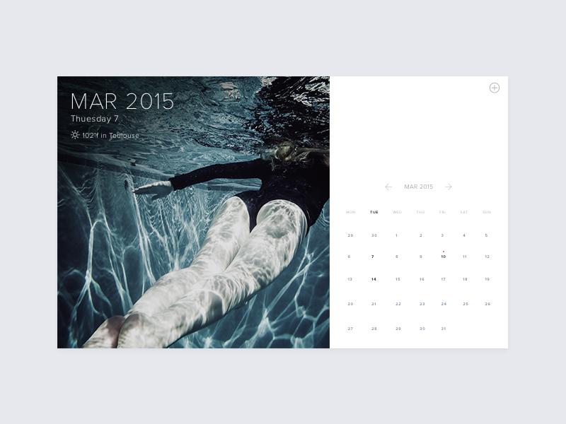 Minimal Calendar with weather +  PSD free psd freebie tacos ios flat blue design ux ui calendar