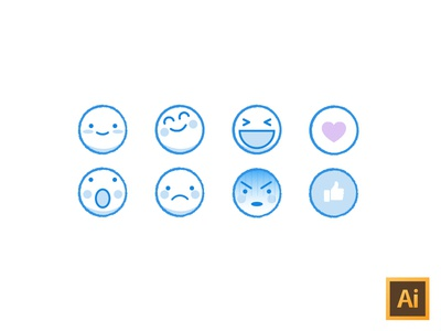 Kawaii facebook emoji freebie