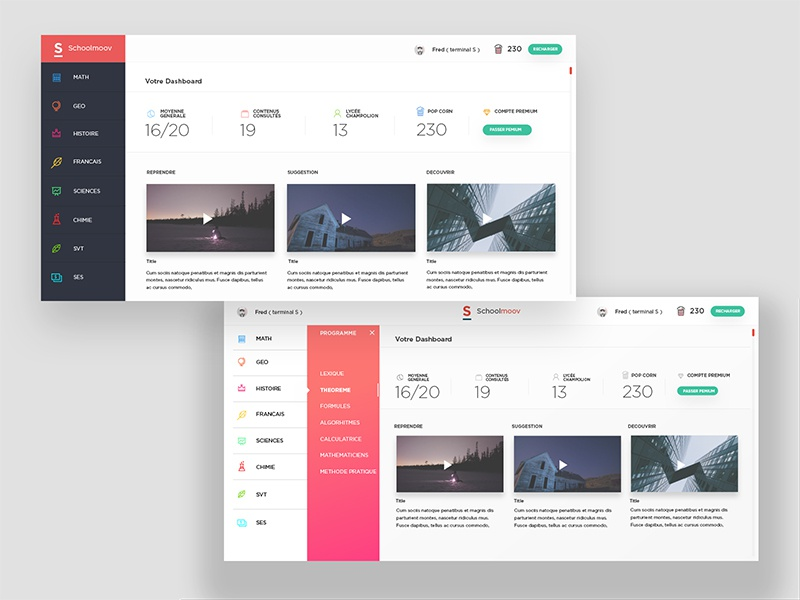 Schoolmouv Dashboard  menu web design school website architecture app design ui ux minimal white dashboard
