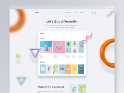 Sadik V3 new 3D test website ui ux design minimal blog object cart