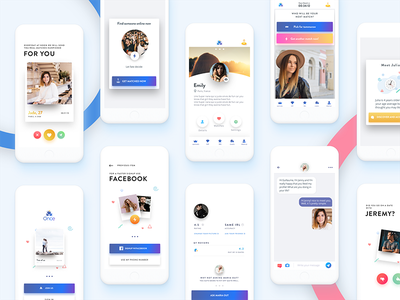 Once Dating App illustration picture chat messenger white minimal ux ui design android ios app