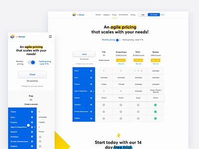 Pricing Page blue white minimal vector web illustration iphone design app ux ui