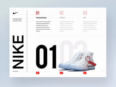 Nike Off white layout branding vector type website flat article shoes nike animation font typography blog ios white minimal design ux ui
