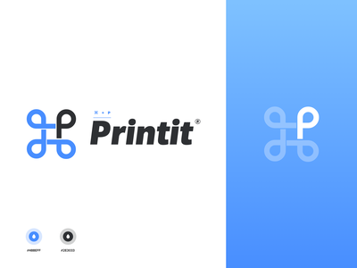 "⌘+P Logo ""printit"" design typography branding vector logo illustration white"