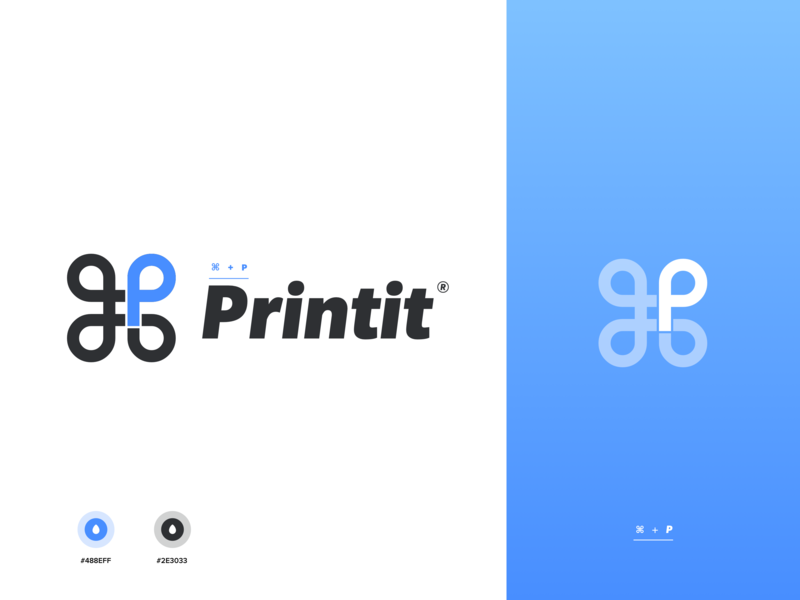 "⌘+P Logo ""printit"" design typography branding vector logo illustration white"