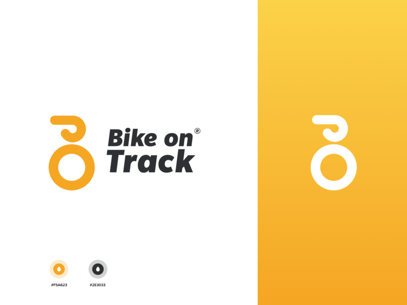 Bike on track flat illustration white minimal app web typography branding vector logo