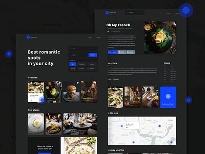 Restaurant finder for lover interface black dashboard branding web blog ios white iphone website minimal app design ux ui