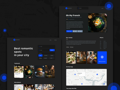 Restaurant finder for lover interface black dashboard branding web blog ios white iphone website minimal app design ux ui