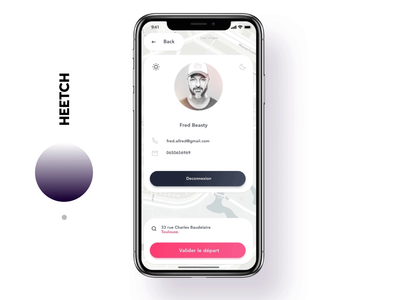 Heetch profile animation branding animation logo vector ios white iphone minimal app design ux ui