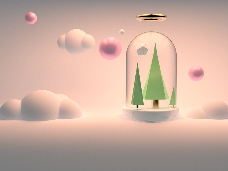 In the cloud glass cloud render design c4d blender 3d