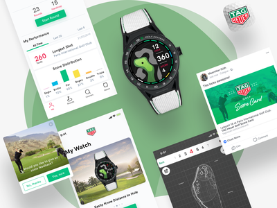 Golf App for TAG Heuer Connected Watch golf product design mobile typography branding illustration vector white iphone minimal app design ux ui