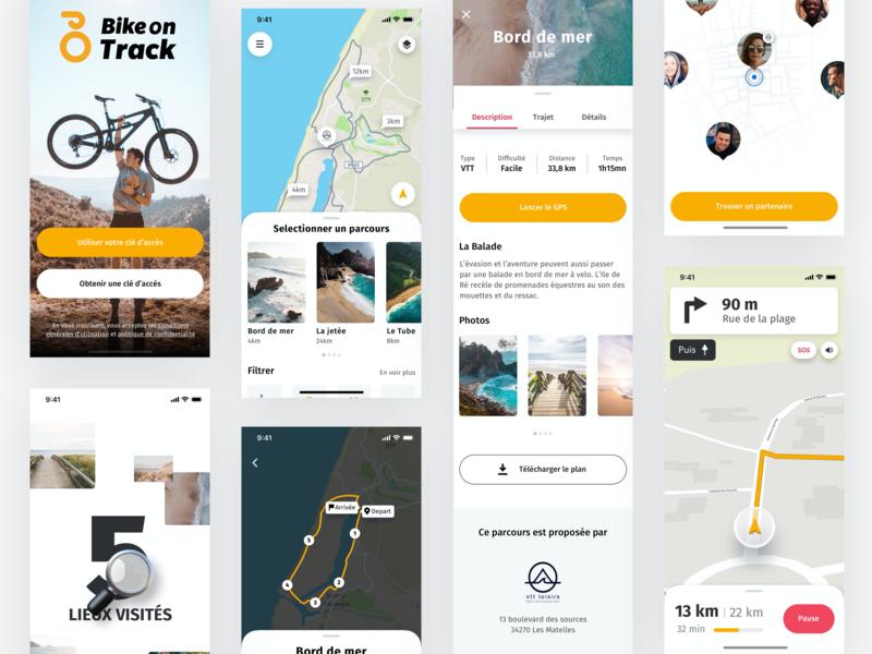 Bike on Track iOS app vector ios agency ux ui white minimal typographie product design mobile branding