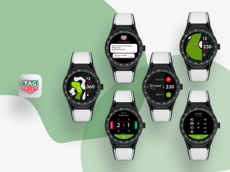 Tag Heuer Connected Watch Edition Golf ios android wear app logo vector product design watch ux ui