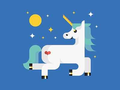 Enamored Unicorn sticker night love illustration funny magic unicorn animals