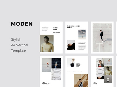 MODEN - A4 Vertical Template Layout clean fashion lookbook layout magazine catalog a4 vertical mockups icon slides powerpoint keynote presentation template minimal ui inspiration design branding