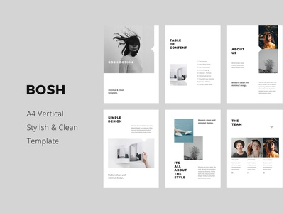 BOSH - A4 Vertical Template Layout layout clean design fashion pitchdeck portfolio magazine catalog a4 vertical mockups icons slides powerpoint keynote presentation template minimal inspiration ui design branding