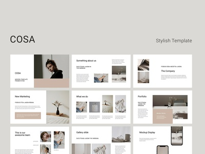 COSA - Stylish Template Presentation mockups vector icons layout catalog magazine lookbook fashion portfolio google slides slides minimal template keynote powerpoint presentation ui design branding