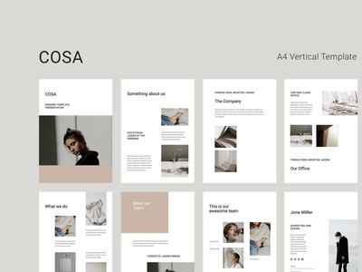 COSA - Vertical A4 Template Layout slides guidelines marketing modern simple layout vertical a4 magazine catalog google slides portfolio keynote powerpoint presentation template minimal inspiration design branding