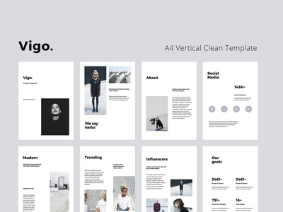 VIGO - A4 Vertical Template vertical a4 brochure a4 magazine catalog pixasquare google slides pitchdeck slideshow ui mark icon powerpoint keynote presentation template minimal inspiration design branding