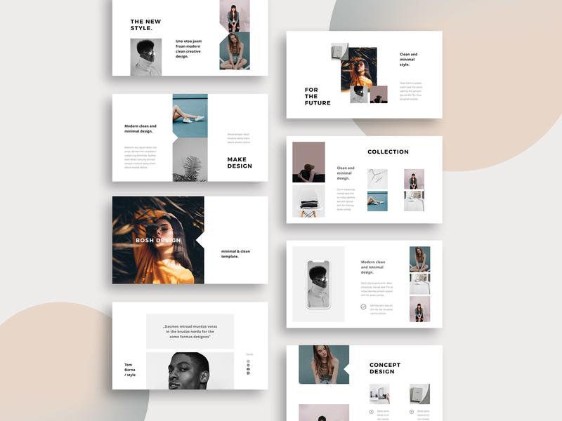 BOSH -  Stylish Template brochure magazine design branding inspiration minimal ui slides google powerpoint keynote fashion feminie lookbook clean modern stylish presentation template