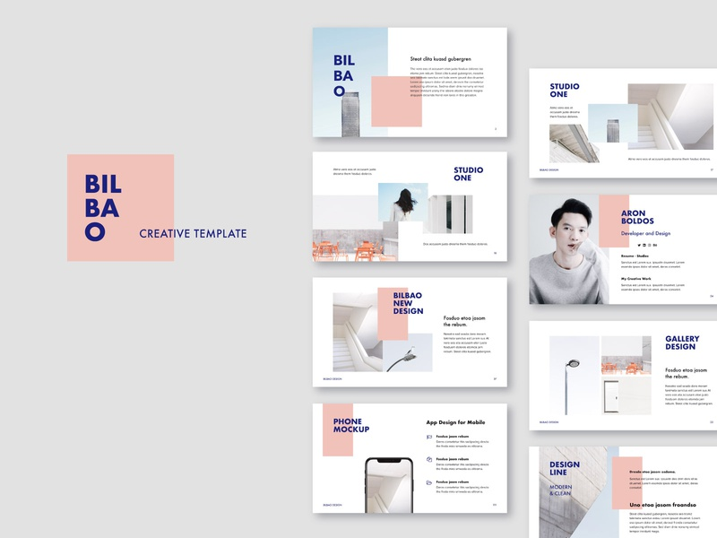 BILBAO - Template + Bonus pixasquare elegant portfolio mark slides minimal branding powerpoint keynote ui inspiration style lookbook stylish design fashion minimalistic modern presentation template