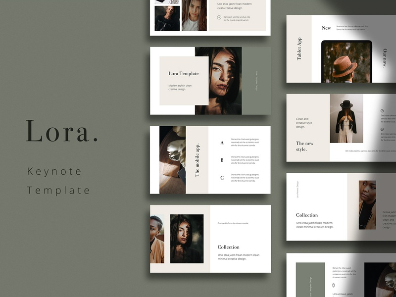 LORA - Keynote Template icon minimal mark vector slides design keynote inspiration branding ui feminine fashion simple minimalism ebooks portfolio lookbook stylish presentation template