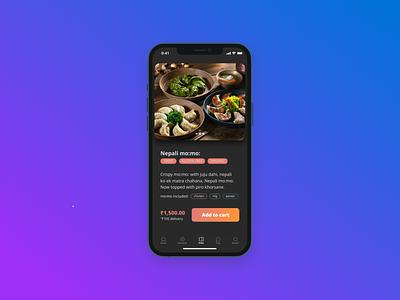 Dark UI - Food App concept design mobile ui mobile website webdesign chat app nepali design ui
