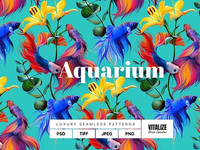 Aquarium — Luxury Seamless Pattern backupgraphic chand back backup branding handwritingfont spring2022 eyecatchy bright modern underwater textile digitalpattern photorealistic