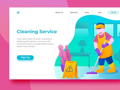 Cleaning Service - Landing Page design branding backup back chand backupgraphic creative hero surotype web app modern flat illustration background ux ui website service cleaning