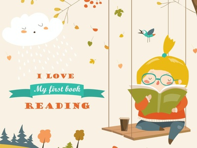 Cute girl swinging and reading a book branding backup back chand backupgraphic studing education child cartoon interested branch art coffee nature book girl fall vector reading autumn