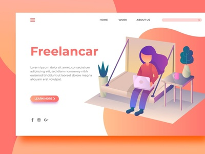 Freelancar - Landing Page design branding backup back chand backupgraphic freelance surotype flat website illustration background ux ui app web page landing header