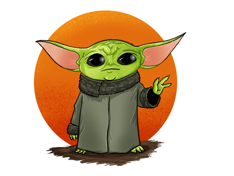 7 pound, 8 ounce, baby Yoda practice illustration