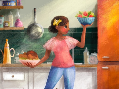 Mom's Kitchen page design page spread page layout character design illustration book cover illustrator childrens illustration childrens book illustration childrens book
