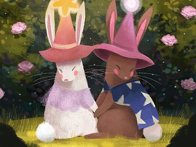 Hare Wizards cute illustration creative character design illustrator illustration childrens illustration childrens book illustration childrens book