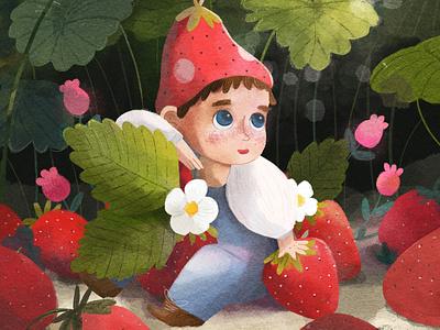 Strawberry Boy cute illustration creative book illustration character design illustrator illustration childrens illustration childrens book illustration childrens book