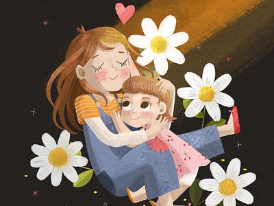 Sister's Love coverart book cover creative book illustration character design illustrator illustration childrens illustration childrens book illustration childrens book