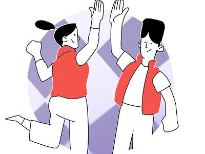 Community help community high five hand clap illustrator illustration system illustration hand drawn design 2d