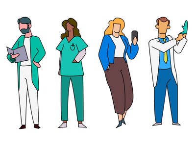 Medical characters doctor characters hospital medical illustration system hand drawn illustrator illustration design 2d